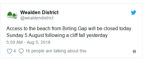 Twitter post by @wealdendistrict: Access to the beach from Birling Gap will be closed today Sunday 5 August following a cliff fall yesterday