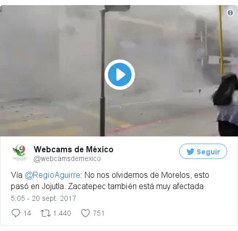 Publicación de Twitter por @webcamsdemexico: Vía @RegioAguirre  No nos olvidemos de Morelos, esto pasó en Jojutla. Zacatepec también está muy afectada pic.twitter.com/3pczS64gkS