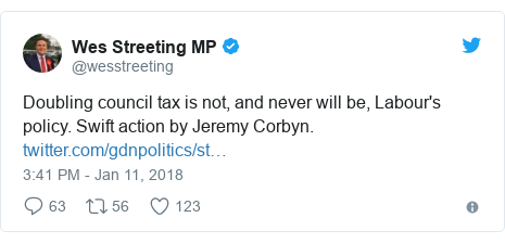 Twitter post by @wesstreeting: Doubling council tax is not, and never will be, Labour's policy. Swift action by Jeremy Corbyn.