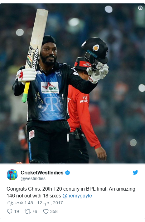 டுவிட்டர் இவரது பதிவு @westindies: Congrats Chris  20th T20 century in BPL final. An amazing 146 not out with 18 sixes @henrygayle