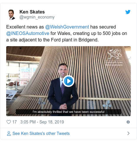 Twitter post by @wgmin_economy: Excellent news as @WelshGovernment has secured @INEOSAutomotive for Wales, creating up to 500 jobs on a site adjacent to the Ford plant in Bridgend.