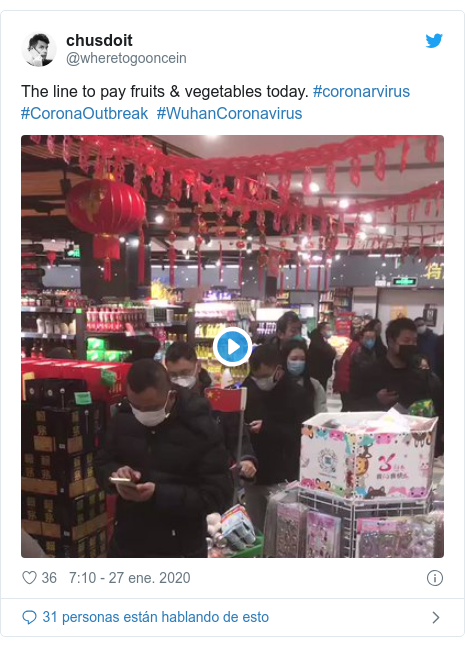 Publicación de Twitter por @wheretogooncein: The line to pay fruits & vegetables today. #coronarvirus  #CoronaOutbreak  #WuhanCoronavirus
