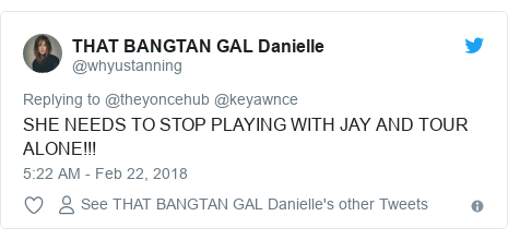 Twitter post by @whyustanning: SHE NEEDS TO STOP PLAYING WITH JAY AND TOUR ALONE!!!