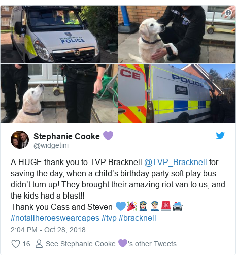 Twitter post by @widgetini: A HUGE thank you to TVP Bracknell @TVP_Bracknell for saving the day, when a child's birthday party soft play bus didn't turn up! They brought their amazing riot van to us, and the kids had a blast!! Thank you Cass and Steven 💙🎉👮🏻♀️👮🏻♂️🚨🚔#notallheroeswearcapes #tvp #bracknell