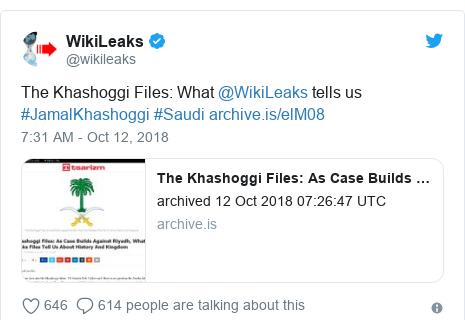 Twitter post by @wikileaks: The Khashoggi Files  What @WikiLeaks tells us #JamalKhashoggi #Saudi