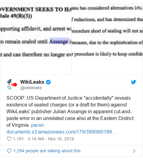 """Twitter post by @wikileaks: SCOOP  US Department of Justice """"accidentally"""" reveals existence of sealed charges (or a draft for them) against WikiLeaks' publisher Julian Assange in apparent cut-and-paste error in an unrelated case also at the Eastern District of Virginia."""