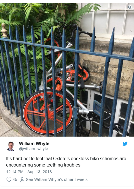 Twitter post by @william_whyte: It's hard not to feel that Oxford's dockless bike schemes are encountering some teething troubles