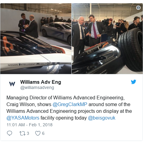 Twitter post by @williamsadveng: Managing Director of Williams Advanced Engineering, Craig Wilson, shows @GregClarkMP around some of the Williams Advanced Engineering projects on display at the @YASAMotors facility opening today @beisgovuk