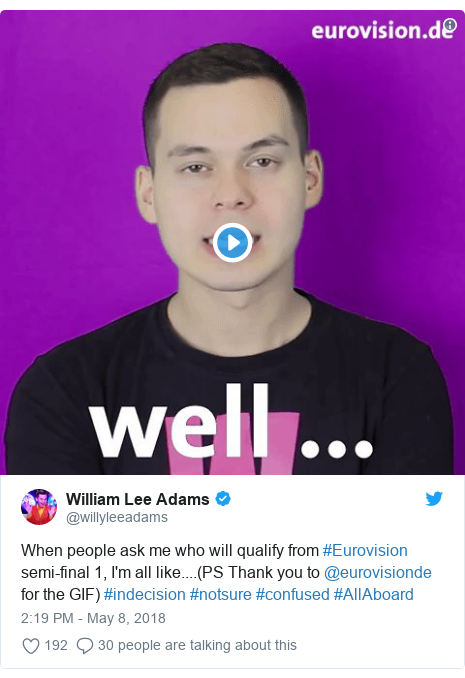 Twitter post by @willyleeadams: When people ask me who will qualify from #Eurovision semi-final 1, I'm all like....(PS Thank you to @eurovisionde for the GIF) #indecision #notsure #confused #AllAboard