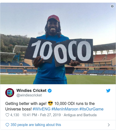 Twitter හි @windiescricket කළ පළකිරීම: Getting better with age! 😎 10,000 ODI runs to the Universe boss! #WIvENG #MenInMaroon #ItsOurGame