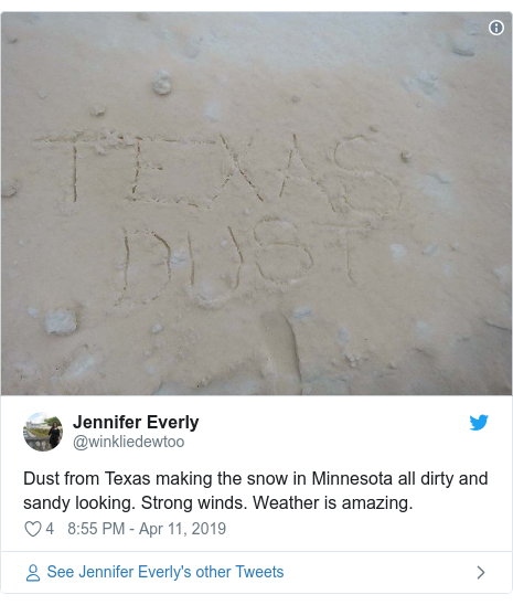 Twitter post by @winkliedewtoo: Dust from Texas making the snow in Minnesota all dirty and sandy looking. Strong winds. Weather is amazing.