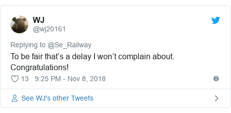 Twitter post by @wj20161: To be fair that's a delay I won't complain about. Congratulations!