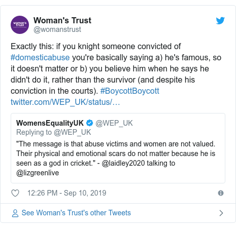 Twitter post by @womanstrust: Exactly this  if you knight someone convicted of #domesticabuse you're basically saying a) he's famous, so it doesn't matter or b) you believe him when he says he didn't do it, rather than the survivor (and despite his conviction in the courts). #BoycottBoycott