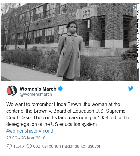 @womensmarch tarafından yapılan Twitter paylaşımı: We want to remember Linda Brown, the woman at the center of the Brown v. Board of Education U.S. Supreme Court Case. The court's landmark ruling in 1954 led to the desegregation of the US education system. #womenshistorymonth