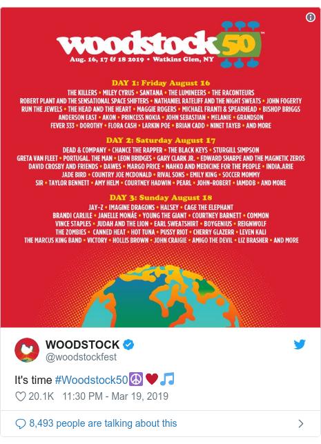Twitter post by @woodstockfest: It's time #Woodstock50☮️♥️🎵