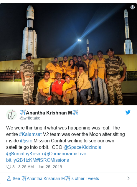 Twitter post by @writetake: We were thinking if what was happening was real. The entire #Kalamsat-V2 team was over the Moon after sitting inside @isro Mission Control waiting to see our own satellite go into orbit.- CEO @SpaceKidzIndia @SrimathyKesan @OnmanoramaLive #ISROMissions