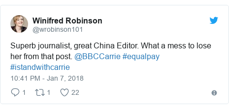 Twitter post by @wrobinson101: Superb journalist, great China Editor. What a mess to lose her from that post. @BBCCarrie #equalpay #istandwithcarrie
