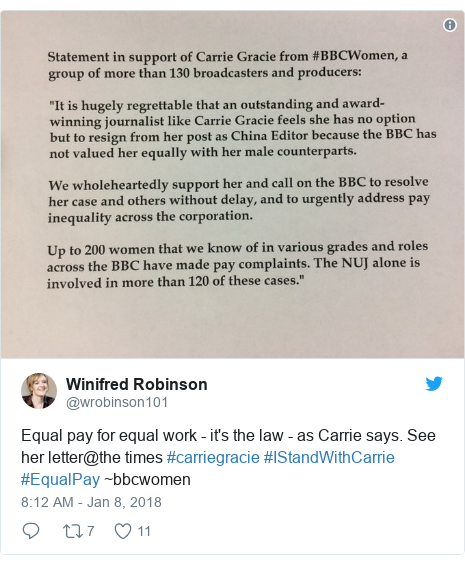 Twitter post by @wrobinson101: Equal pay for equal work - it's the law - as Carrie says. See her letter@the times #carriegracie #IStandWithCarrie #EqualPay ~bbcwomen