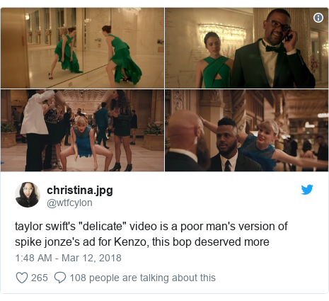 "Twitter post by @wtfcylon: taylor swift's ""delicate"" video is a poor man's version of spike jonze's ad for Kenzo, this bop deserved more"