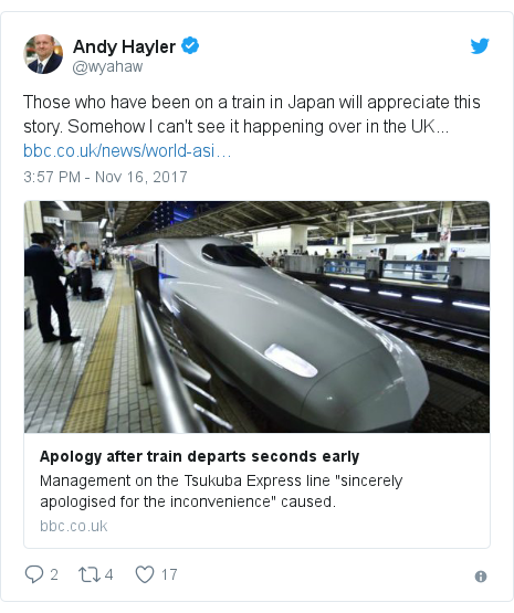 Twitter post by @wyahaw: Those who have been on a train in Japan will appreciate this story. Somehow I can't see it happening over in the UK...