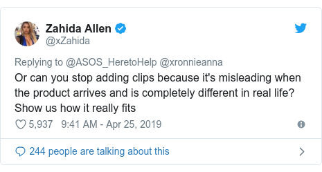 Twitter post by @xZahida: Or can you stop adding clips because it's misleading when the product arrives and is completely different in real life? Show us how it really fits