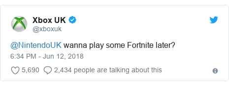 Twitter post by @xboxuk: @NintendoUK wanna play some Fortnite later?