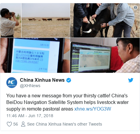 Twitter post by @XHNews: You have a new message from your thirsty cattle! China's BeiDou Navigation Satellite System helps livestock water supply in remote pastoral areas
