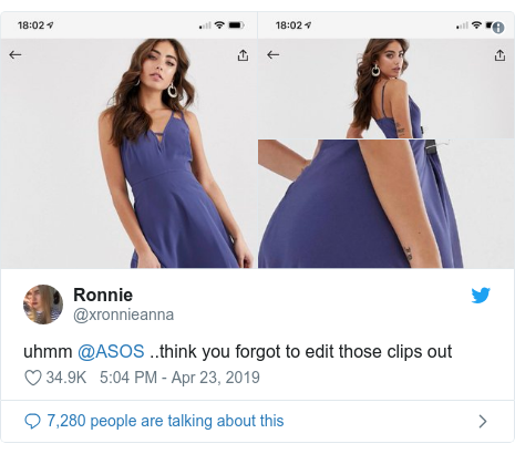 Twitter post by @xronnieanna: uhmm @ASOS ..think you forgot to edit those clips out