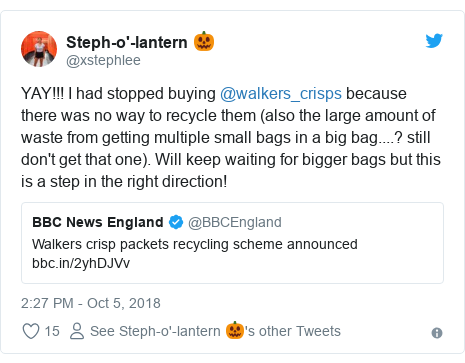 Twitter post by @xstephlee: YAY!!! I had stopped buying @walkers_crisps because there was no way to recycle them (also the large amount of waste from getting multiple small bags in a big bag....? still don't get that one). Will keep waiting for bigger bags but this is a step in the right direction!