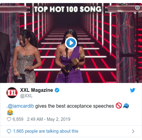 Twitter post by @XXL: .@iamcardib gives the best acceptance speeches 🚫🧢😂