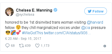 Twitter post by @xychelsea: honored to be 1st disinvited trans woman visiting @harvard fellow 😌 they chill marginalized voices under @cia pressure 😎🌈💕 #WeGotThis https //t.co/7ViF3GaSec
