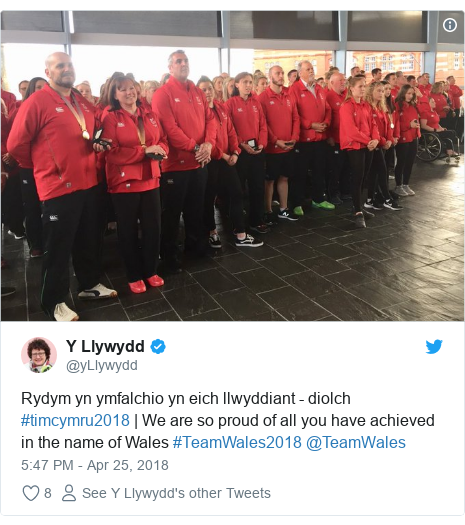 Neges Twitter gan @yLlywydd: Rydym yn ymfalchio yn eich llwyddiant - diolch #timcymru2018 | We are so proud of all you have achieved in the name of Wales #TeamWales2018 @TeamWales