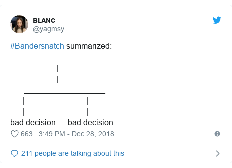 Twitter post by @yagmsy: #Bandersnatch summarized                        |                       |       __________________      |                               |      |                               |bad decision      bad decision