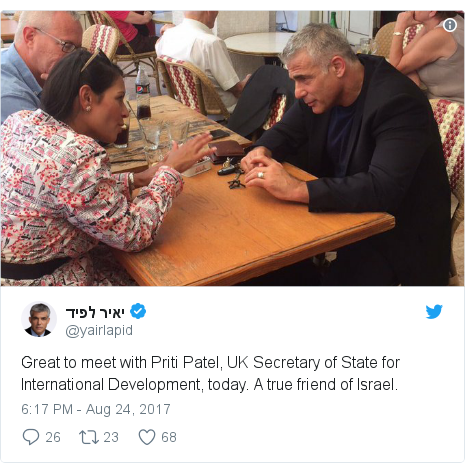 Twitter post by @yairlapid: Great to meet with Priti Patel, UK Secretary of State for International Development, today. A true friend of Israel.