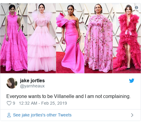 Twitter post by @yarnheaux: Everyone wants to be Villanelle and I am not complaining.