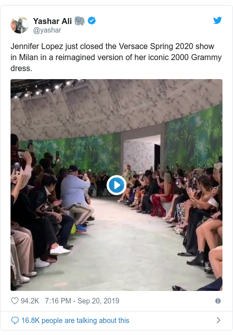 Twitter post by @yashar: Jennifer Lopez just closed the Versace Spring 2020 show in Milan in a reimagined version of her iconic 2000 Grammy dress.
