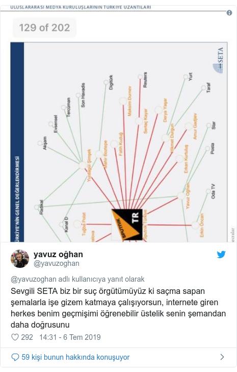 @yavuzoghan tarafından yapılan Twitter paylaşımı: Sevgili SETA biz bir suç örgütümüyüz ki saçma sapan şemalarla işe gizem katmaya çalışıyorsun, internete giren herkes benim geçmişimi öğrenebilir üstelik senin şemandan daha doğrusunu