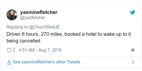 Twitter post by @yazfletcher: Driven 6 hours, 270 miles, booked a hotel to wake up to it being cancelled