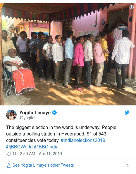 Twitter post by @yogital: The biggest election in the world is underway. People outside a polling station in Hyderabad. 91 of 543 constituencies vote today. #Indianelections2019 @BBCWorld @BBCIndia