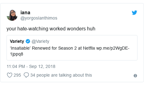 Twitter post by @yorgosIanthimos: your hate-watching worked wonders huh
