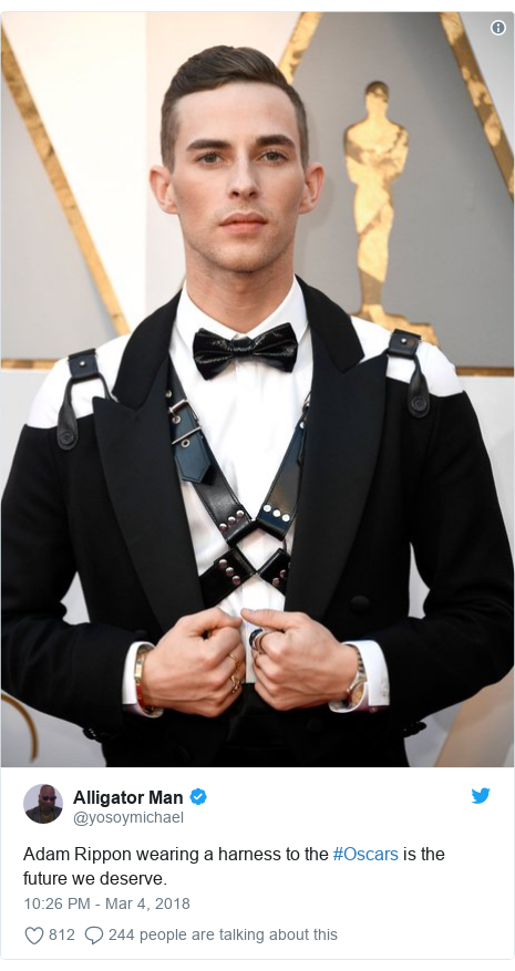 Twitter post by @yosoymichael: Adam Rippon wearing a harness to the #Oscars is the future we deserve.