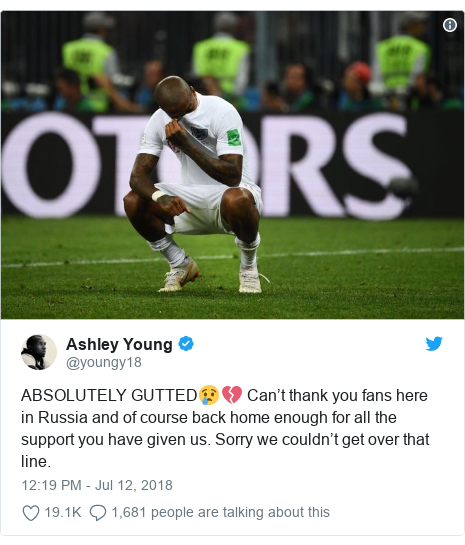 Twitter post by @youngy18: ABSOLUTELY GUTTED😢💔 Can't thank you fans here in Russia and of course back home enough for all the support you have given us. Sorry we couldn't get over that line.