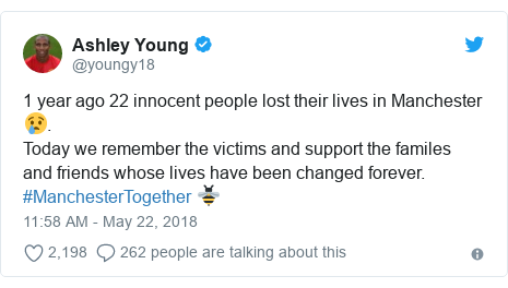 Twitter post by @youngy18: 1 year ago 22 innocent people lost their lives in Manchester😢. Today we remember the victims and support the familes and friends whose lives have been changed forever. #ManchesterTogether 🐝
