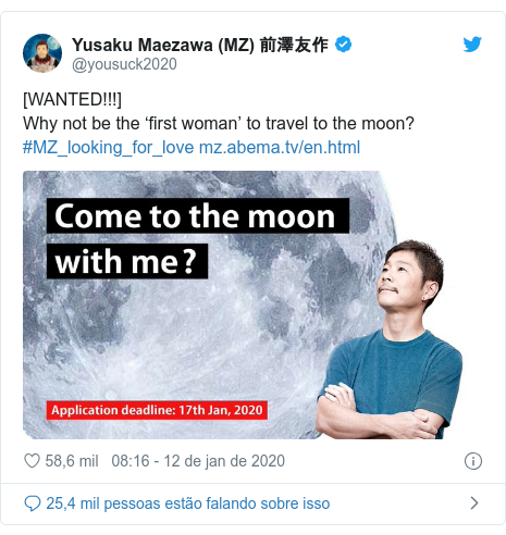 Twitter post de @yousuck2020: [WANTED!!!] Why not be the 'first woman' to travel to the moon?#MZ_looking_for_love