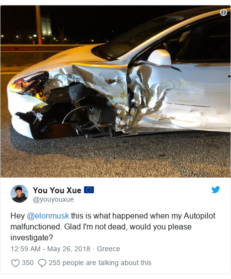 Twitter post by @youyouxue: Hey @elonmusk this is what happened when my Autopilot malfunctioned. Glad I'm not dead, would you please investigate?