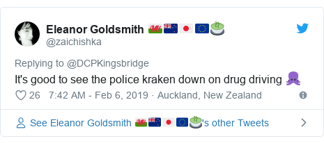 Twitter post by @zaichishka: It's good to see the police kraken down on drug driving 🐙