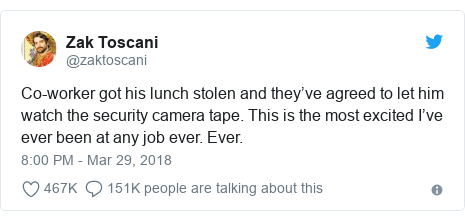 Twitter post by @zaktoscani: Co-worker got his lunch stolen and they've agreed to let him watch the security camera tape. This is the most excited I've ever been at any job ever. Ever.