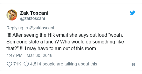 """Twitter post by @zaktoscani: !!!! After seeing the HR email she says out loud """"woah. Someone stole a lunch? Who would do something like that?"""" !!! I may have to run out of this room"""