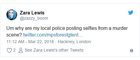 Twitter post by @zazzy_boom: Um why are my local police posting selfies from a murder scene?