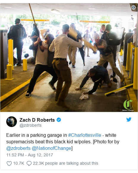 Twitter post by @zdroberts: Earlier in a parking garage in #Charlottesville - white supremacists beat this black kid w/poles. [Photo for by @zdroberts @NationofChange]